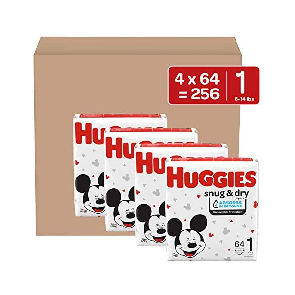 Huggies Snug & Dry Baby Diapers One Month Supply White Size 1 (256 Count) 1