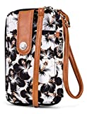 MUNDI Jacqui Vegan Leather RFID Womens Crossbody Cell Phone Purse Holder Wallet (Floral 1)