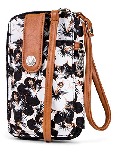 (MUNDI Jacqui Vegan Leather RFID Womens Crossbody Cell Phone Purse Holder Wallet (Floral)