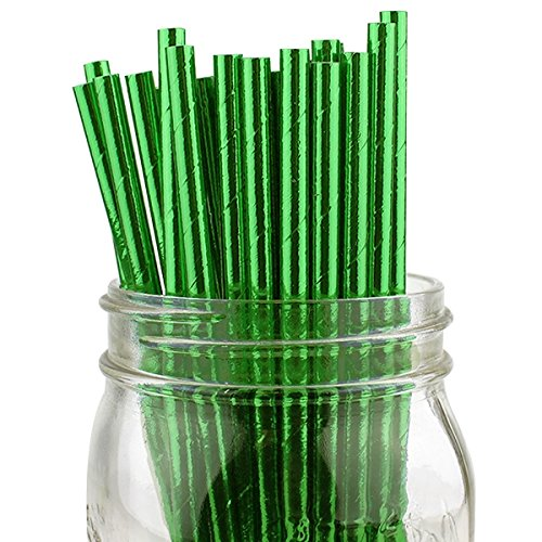 Just Artifacts Decorative Solid Paper Straws (100pcs, Solid, Metallic Green)