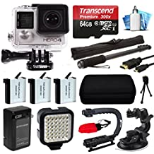 GoPro HERO4 Silver Edition 4K Action Camera with 64GB MicroSD Card, 3x Batteries with Charger, Opteka xGrip Handle, Night LED Light, Car Mount HDMI Micro Cable, Case, Mini Tripod, Cleaning Kit + more
