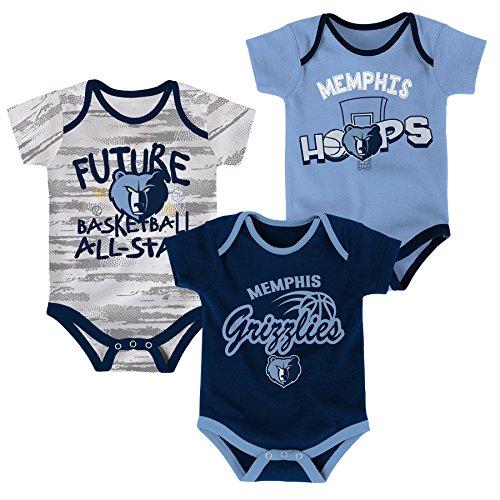 NBA Newborn & Infant 3 Piece Onesie Set Memphis Grizzlies-Dark Navy-12 ()