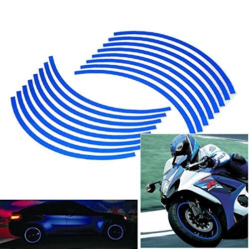 Wheel Reflective Car Motorcycle Rim Sticker Blue - 3