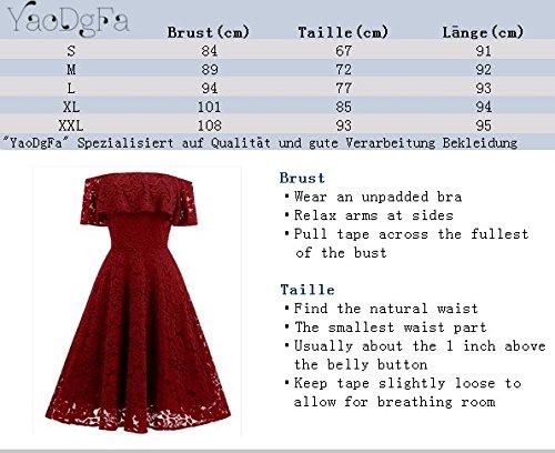 ... YaoDgFa Sexy Damen Kleider Spitze Abendkleid Festlich Cocktailkleid  Partykleid Rockabilly Kleid Knielang Kurzarm Off Schulter Retro 2502970331