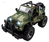 WolVol Off-Road Military Fighter Car Toy - Friction Powered Toy Vehicle with Fun Lights & Sounds - 2 Doors Open - Great Gift for All Occasions for Kids Boys & Girl