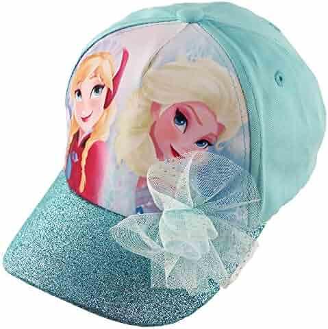 the latest b9193 cfac8 Disney Frozen Elsa and Anna Cotton Baseball Cap with Glitter Pom, Little  Girls, Blue