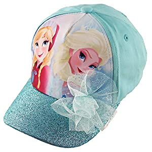 Disney Frozen Elsa and Anna Cotton Baseball Cap with Glitter Pom, Little Girls, Blue, Age 4-7
