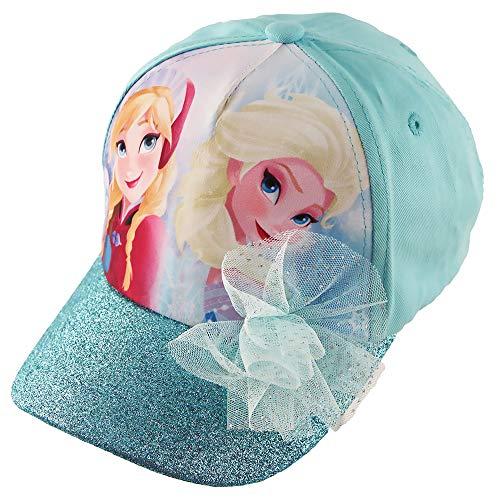 Disney Frozen Elsa and Anna Cotton Baseball Cap with Glitter Pom, Little Girls, Blue, Age 4-7]()