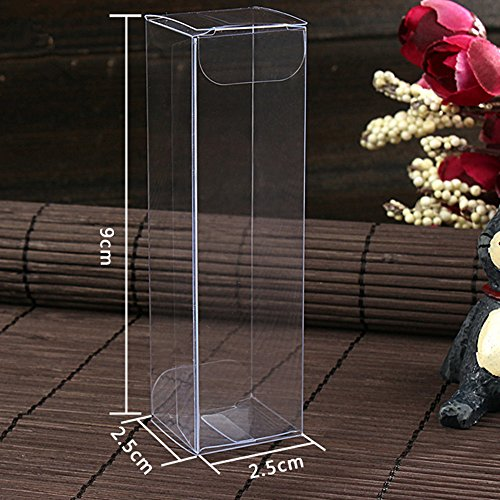 Saasiiyo 50 Pieces/Lot 2.5x2.5x9cm Cosmetic Candy Chocolate Poly Package Box Clear Plastic PVC Box For Lipstick DIY Gift