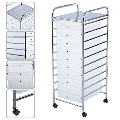 New 10 Drawer Rolling Storage Cart Scrapbook Paper Office...