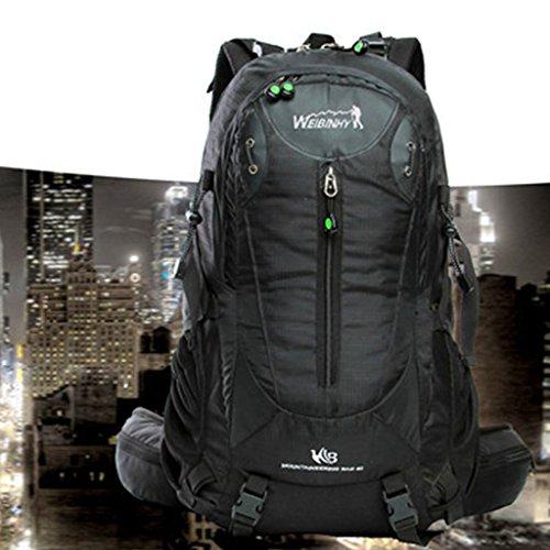 bolsa de viaje ligera mujeres de los hombres del bolso de hombro al aire libre del alpinismo del paquete 40L mochila negro