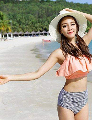 cooshional Conjunto de Bikini de Tirantes Mujer Bañador Acolchado de Volantes Dos Piezas naranja