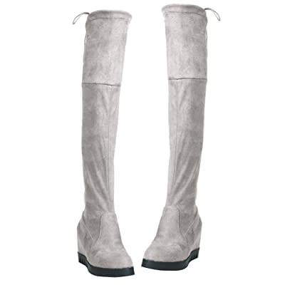 amazingdeal Plush Winter Flat Thigh High Boots Over the Knee Boots Stretch Women Boots