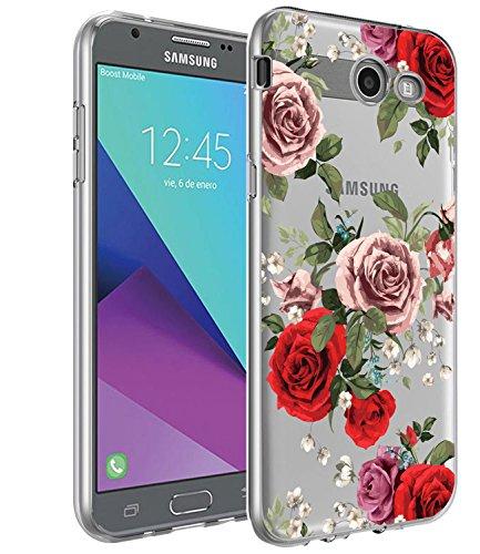 Galaxy J3 Emerge Case, BAISRKE Slim Shockproof Rose Floral Soft Flexible Clear TPU Back Cove for Galaxy J3 Emerge/J3 Prime/J3 2017/J3 Mission/J3 Eclipse/J3 Luna Pro/Sol 2/Amp Prime 2