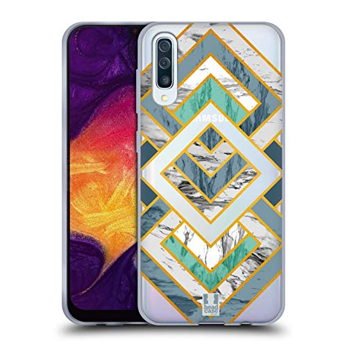 Head Case Designs Diamond Decorative Marble Collection Soft Gel Case for Samsung Galaxy A50 (2019)