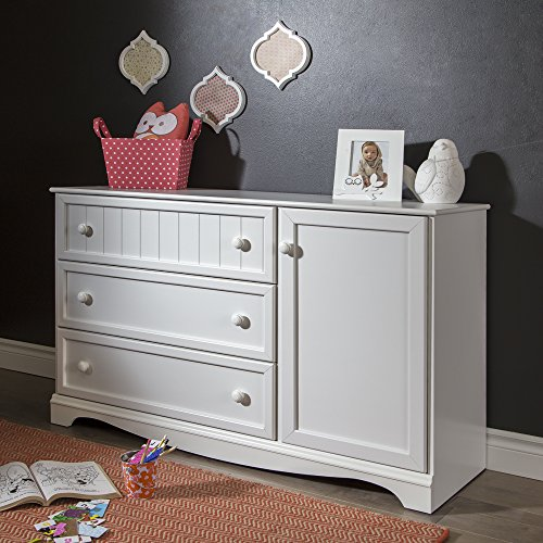 Hill Sideboard - South Shore Savannah 3-Drawer Dresser with Door, Pure White