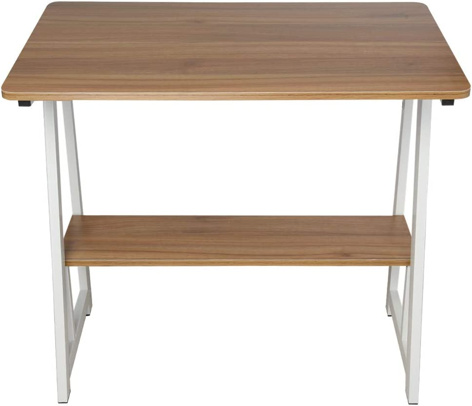 Yetou Furniture Office Desktop Home Simple Desk Computer Desk 31.5×19.7Inch White Maple Bookshelf Work Table Students Writing Desk