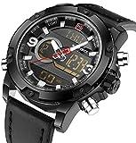 Multifunctional Digital Black Leather LED Sport Men Watches Military Men's Quartz Wrist Watch