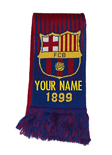 (Fc Barcelona Scarf Reversible Add Your Name Or Initial (Marron))