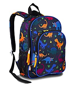 LONECONE Kids' Canvas Preschool Backpack - Integrated Tablet Sleeve, Dino Daypack