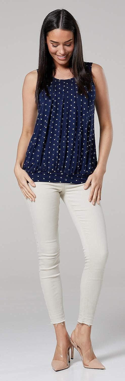 Womens Maternity T-Shirt Nursing Layered Top Sleeveless 096p HAPPY MAMA