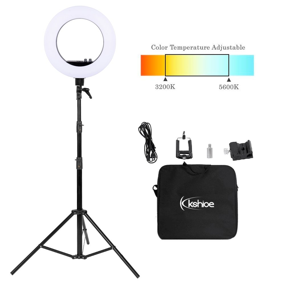Kshioe 18'' Bi-color Dimmable LED Ring Light, 3200 to 5600K Color Temperature Adjustable Circle Lighting Kit Photography Photo Studio Light with Tripod Stand,Carrying Case,Hot Shoe Adapter,Phone Clip