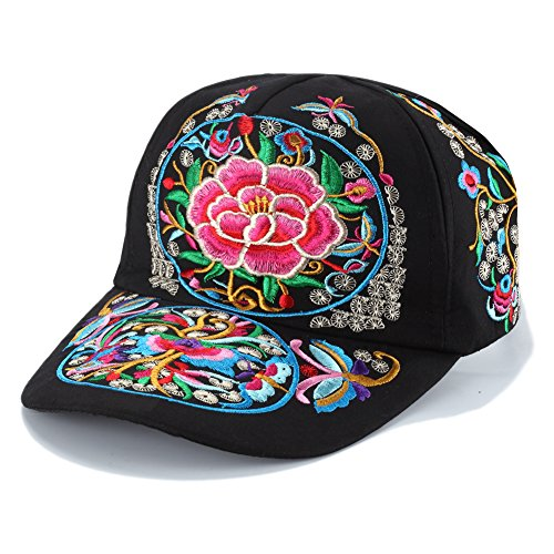Vintage Embroidered Flower Multicolor Baseball Cap for Women Summer Fashion Colorful Adjustable Travel Embroidery Hat
