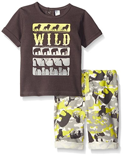 Price comparison product image Petit Lem Baby Boys' 2 Piece Set Sleeve Top and Short,  Dark Grey,  12 Months