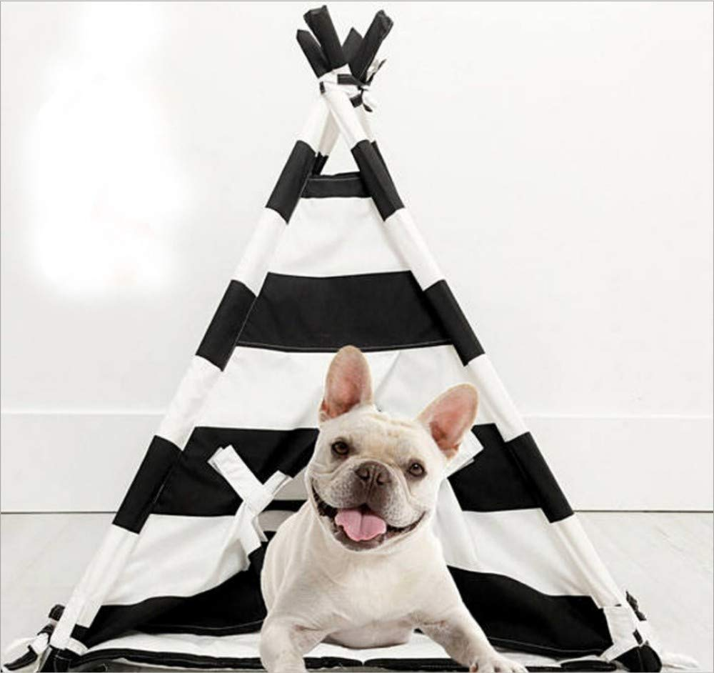 50x50x70cm GZDXHN Dog house black and white striped pet nest pet tent kennel cat nest pet supplies
