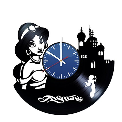 AmKa Jasmine Aladdin Disney Vinyl Record Wall Clock Vintage Great Gift for Relatives and Friends Home Decor for Kids Nursery