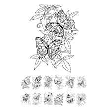 """Adult Coloring Cards (24 cards 4""""x6"""") Butterflies and Flowers FLONZ Vintage Designs for Adult Coloring Wildflower"""