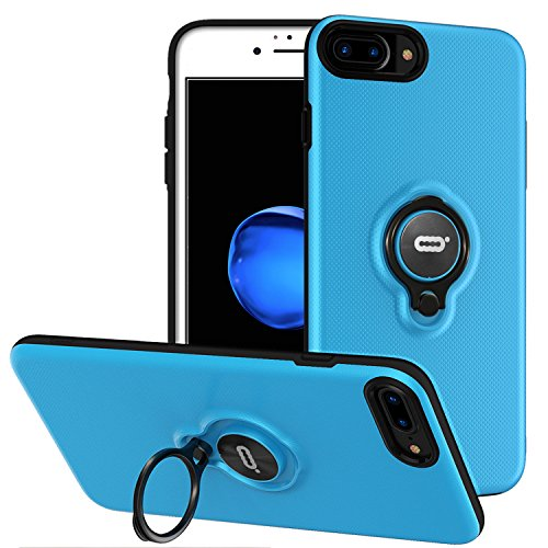 iPhone 8 Plus Case, iPhone 7 Plus Case with Ring Holder Kickstand, 360°Adjustable Ring Grip Stand Work with Magnetic Car Mount Anti-Fingerprint Slim Cover for Apple iPhone 8P 5.5 inch - Blue