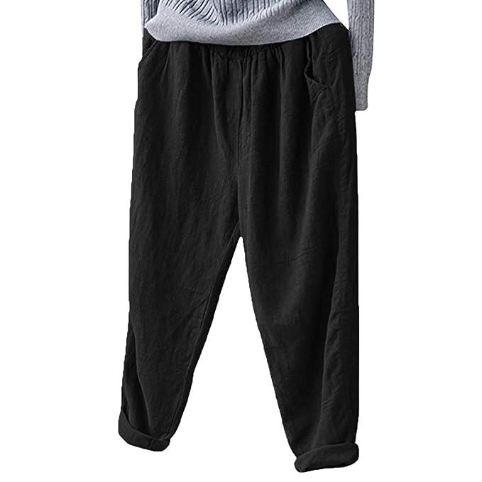 09c3fe6ba26 Helisopus Women s Elastic Waist Casual Relaxed Loose Fit Cotton Linen Pants  Harem Trousers Cropped Pants Black
