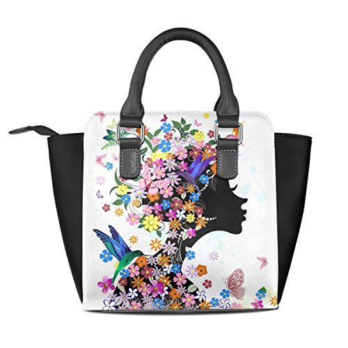 Bennigiry Flowers Girl uccelli farfalle in borsetta borsa a tracolla per donne