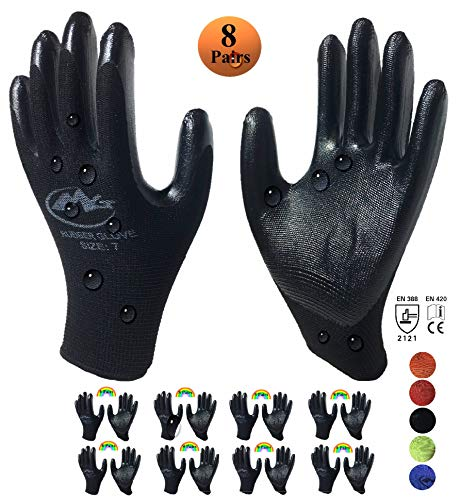 MG Gardening Gloves for Women and Men, Nitrile Rubber Coated Work Gloves for General Purposes, 8-Pairs, Fitted Nylon Knit Safety Gloves with Textured Firm Grip Coating (Small, Black)