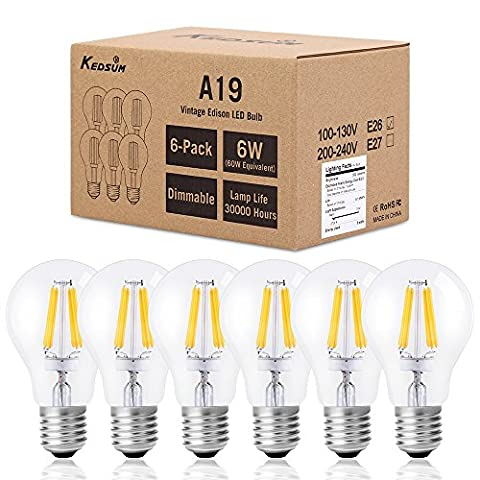 KEDSUM 6W A19 Dimmable Vintage Edison Led Bulb, 60W Incandescent Equivalent 2700K Warm White, 500LM Filament Light Bulbs for Pendant Lighting Ceiling Fan, Pack of (60w Led Edison Bulb)