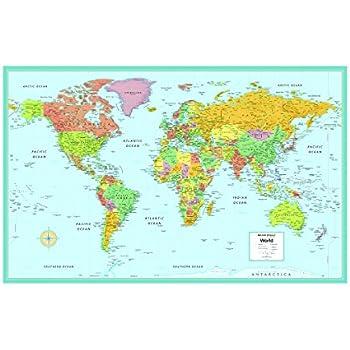Amazon.: Rand McNally's M Series Laminated World Wall Map, 50