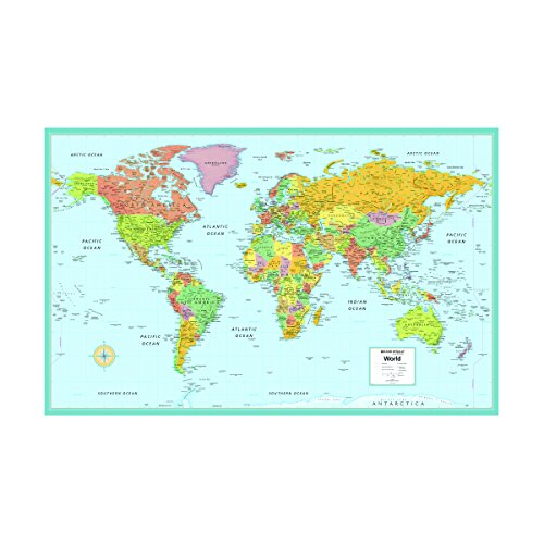 Rand McNally's M Series Laminated World Wall Map, 50 x 32 Inches, Full Color (RM52895993X)