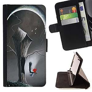 Momo Phone Case / Flip Funda de Cuero Case Cover - Arte Deep Love Pintura Significado - Motorola Moto E ( 1st Generation )