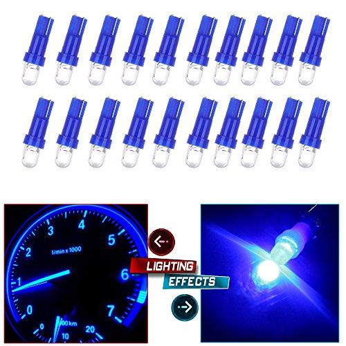 CCIYU 20x Blue 37 58 70 73 74 T5 Diode LED Chips Dashboard Panel Gauge Cigarette lighter Ashtray light Speedometer Odometer Tachometer Instrument Panel LED Wedge Bulbs (Mitsubishi Galant 2003 Dashboard compare prices)
