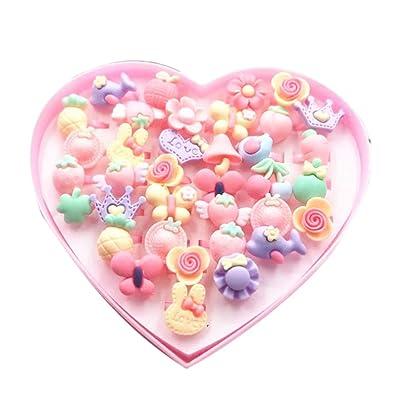 YESZ Pretend Play 36Pcs Girls Kids Cartoon Flower Resin Rhinestone Rings Toy Set Jewelry Box Gift - Frosted Flower: Toys & Games [5Bkhe1904708]