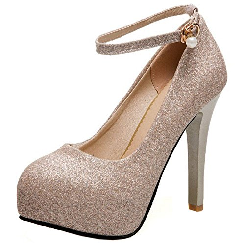 COOLCEPT Damen Mode Knöchelriemchen Pumps Plateau Stiletto Party Shoes Big Sizes Gold