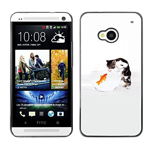 Soft Silicone Rubber Case Hard Cover Protective Accessory Compatible with HTC ONE M7 2013 - Funny Cute Cat & Goldfish