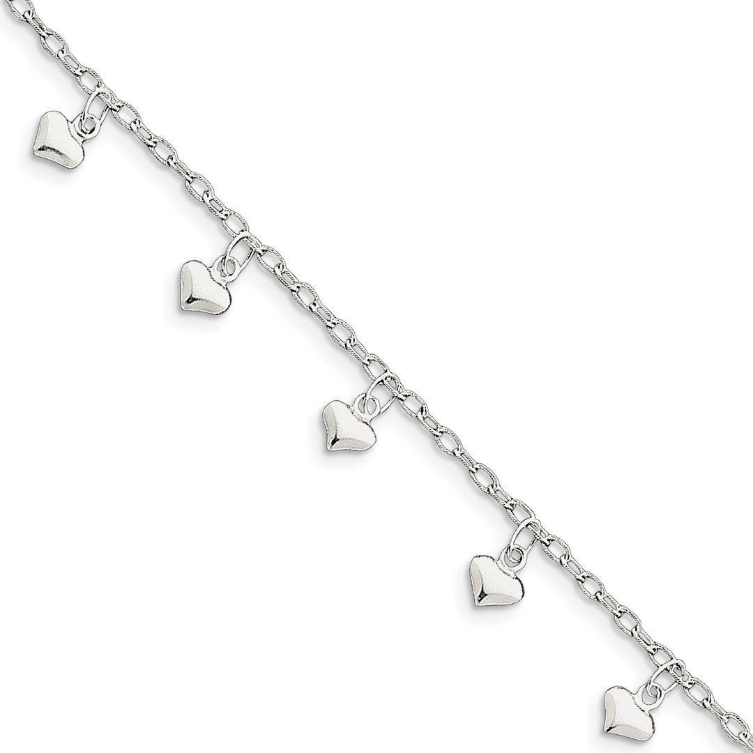 Ankle Bracelet Foot Jewelry Anklet - ICE CARATS 925 Sterling Silver 9 Inch Heart Anklet Ankle Beach Chain Bracelet Fine Jewelry Ideal Gifts For Women Gift Set From Heart