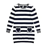 Benito & Benita Girls' Pullover Sweater Striped Cotton Dress Sweater with Pockets 2-7Y