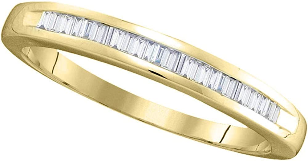 14kt Yellow Gold Womens Baguette Diamond Band Wedding Anniversary Ring 1//4 Cttw