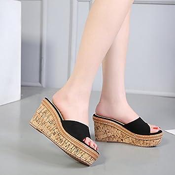 SCLOTHS Tongs Femme Chaussures L'été en pente fond épais talons moyens Black UN 5.5 US/35.5 EU/3/UK HYPQ486ee