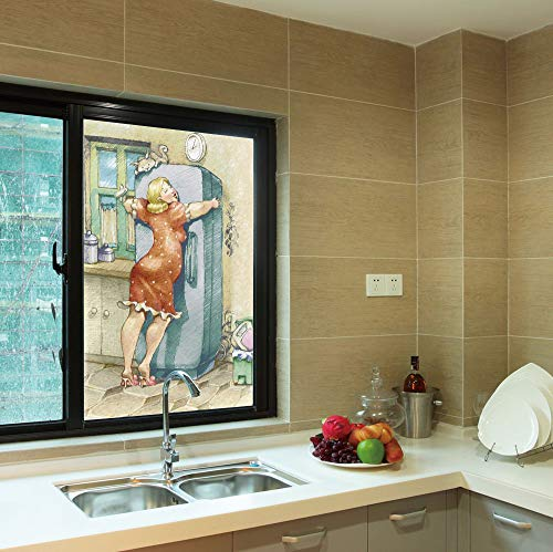 YOLIYANA No Glue Window Film,Funny,for Window Moving Glass Door,A Plump Woman Embracing The Fridge with Passion,24''x36''