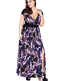 Greenis Women Dress Long Butterfly Printed Deep V Neck Sexy Plus Size
