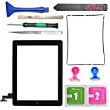 New iPad 2 Digitizer Touch Screen Front Glass Assembly - Includes Home Button + Camera Holder + PreInstalled Adhesive with SlyPry tools kit (Black)